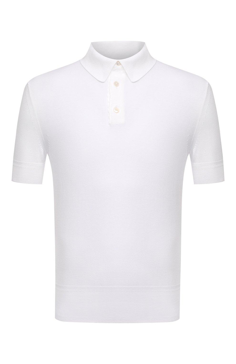 Мужское хлопковое поло TOM FORD белого цвета, арт. BWC00/TFKC33 | Фото 1 (Застежка: Пуговицы; Рукава: Короткие; Длина (для топов): Стандартные; Кросс-КТ: Трикотаж; Материал внешний: Хлопок; Стили: Кэжуэл)