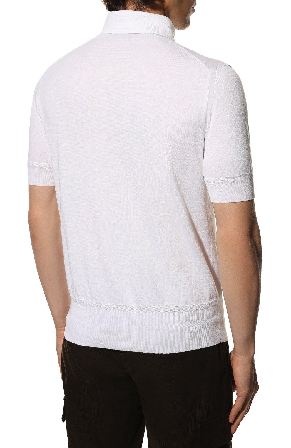 Мужское хлопковое поло TOM FORD белого цвета, арт. BWC00/TFKC33 | Фото 4 (Застежка: Пуговицы; Рукава: Короткие; Длина (для топов): Стандартные; Кросс-КТ: Трикотаж; Материал внешний: Хлопок; Стили: Кэжуэл)