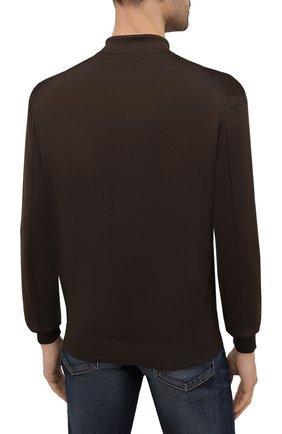 Мужское поло из вискозы TOM FORD темно-коричневого цвета, арт. BWV94/TFK132 | Фото 4