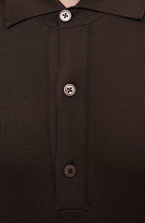 Мужское поло из вискозы TOM FORD темно-коричневого цвета, арт. BWV94/TFK132 | Фото 5