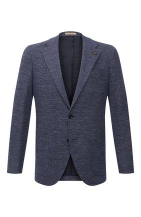 Мужской пиджак из хлопка и льна SARTORIA LATORRE темно-синего цвета, арт. JEF74 JE2123 | Фото 1 (Материал внешний: Хлопок, Лен; Длина (для топов): Стандартные; Случай: Коктейльный; Пиджаки М: Приталенный; 1-2-бортные: Однобортные; Стили: Классический; Рукава: Длинные; Материал подклада: Вискоза)
