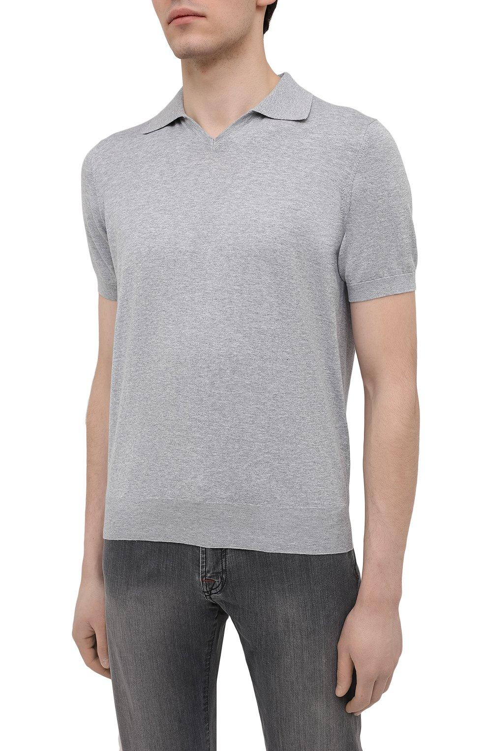 Мужское хлопковое поло BRUNELLO CUCINELLI темно-серого цвета, арт. M29800145 | Фото 3