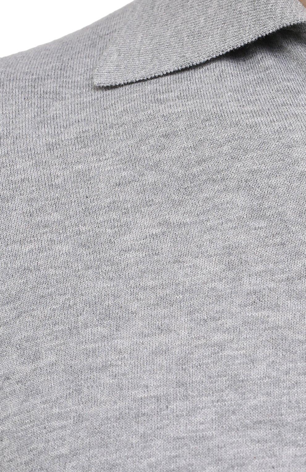 Мужское хлопковое поло BRUNELLO CUCINELLI темно-серого цвета, арт. M29800145 | Фото 5