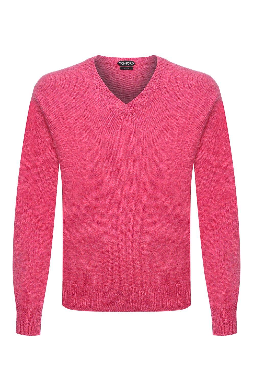Мужской кашемировый свитер TOM FORD розового цвета, арт. BWK70/TFK100   Фото 1 (Материал внешний: Шерсть; Рукава: Длинные; Принт: Без принта; Длина (для топов): Стандартные; Стили: Романтичный)