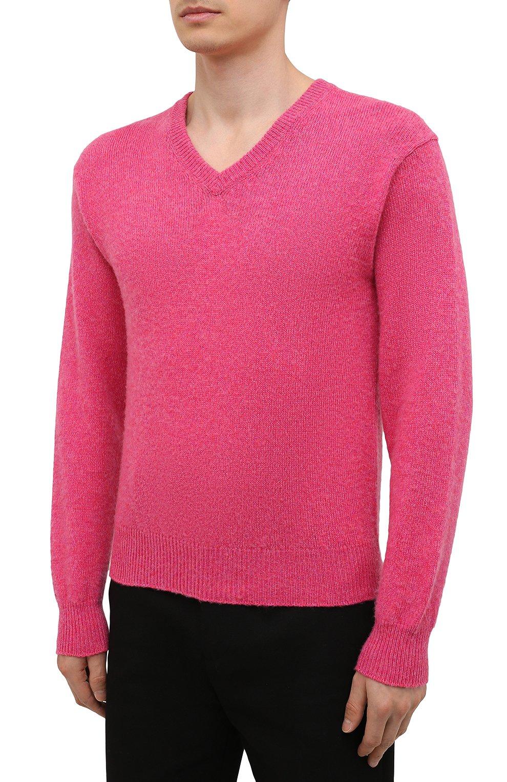 Мужской кашемировый свитер TOM FORD розового цвета, арт. BWK70/TFK100   Фото 3 (Материал внешний: Шерсть; Рукава: Длинные; Принт: Без принта; Длина (для топов): Стандартные; Стили: Романтичный)