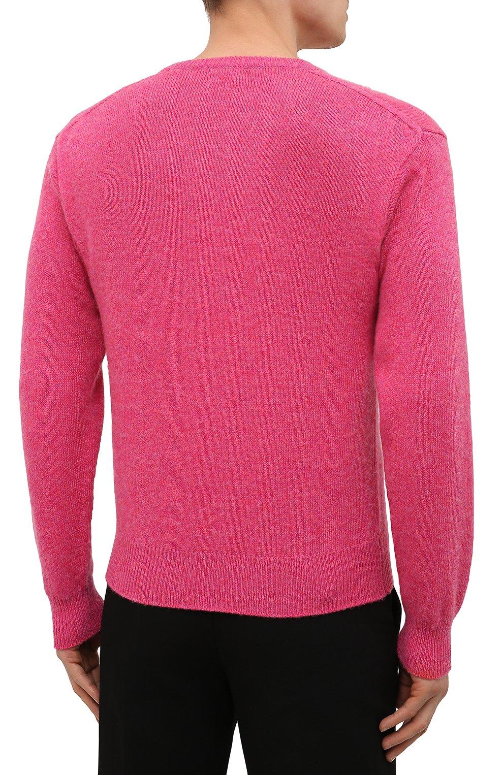 Мужской кашемировый свитер TOM FORD розового цвета, арт. BWK70/TFK100   Фото 4 (Материал внешний: Шерсть; Рукава: Длинные; Принт: Без принта; Длина (для топов): Стандартные; Стили: Романтичный)
