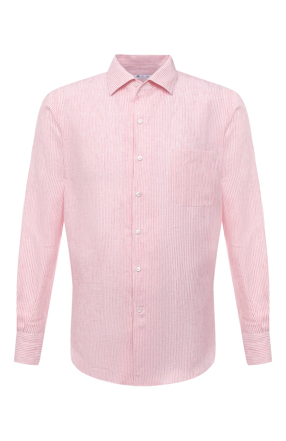 Мужская льняная рубашка LORO PIANA розового цвета, арт. FAL6145 | Фото 1