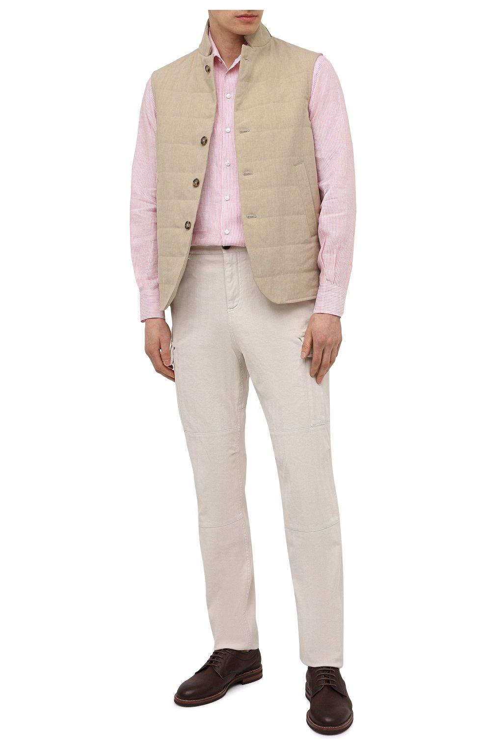 Мужская льняная рубашка LORO PIANA розового цвета, арт. FAL6145 | Фото 2