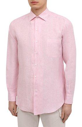 Мужская льняная рубашка LORO PIANA розового цвета, арт. FAL6145 | Фото 3