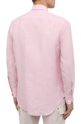 Мужская льняная рубашка LORO PIANA розового цвета, арт. FAL6145 | Фото 4