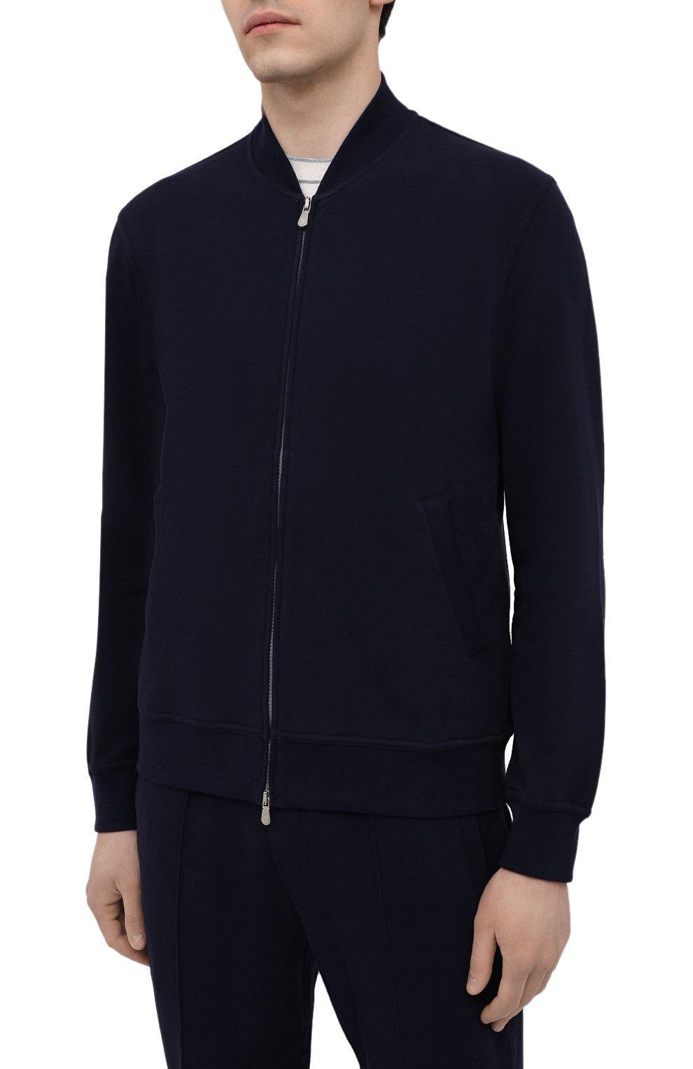 Мужской хлопковая толстовка BRUNELLO CUCINELLI темно-синего цвета, арт. M0T159072G | Фото 3
