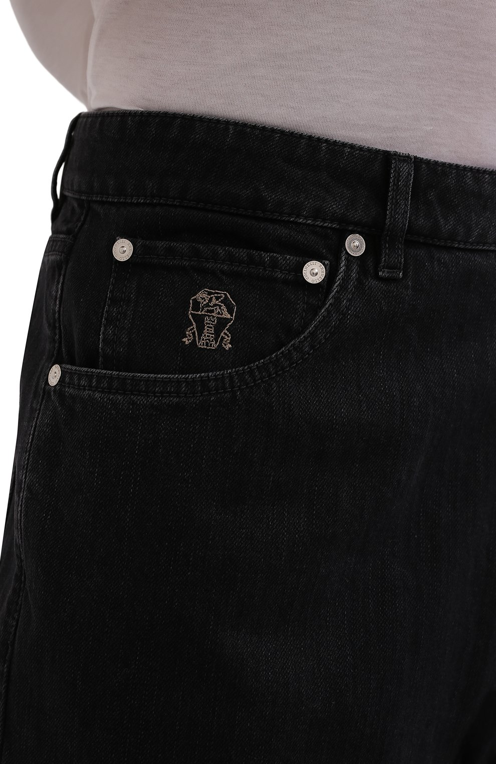 Мужские джинсы BRUNELLO CUCINELLI темно-серого цвета, арт. ME245X1290 | Фото 5