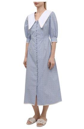 Женское хлопковое платье MASTERPEACE голубого цвета, арт. MP-SS20-09   Фото 2