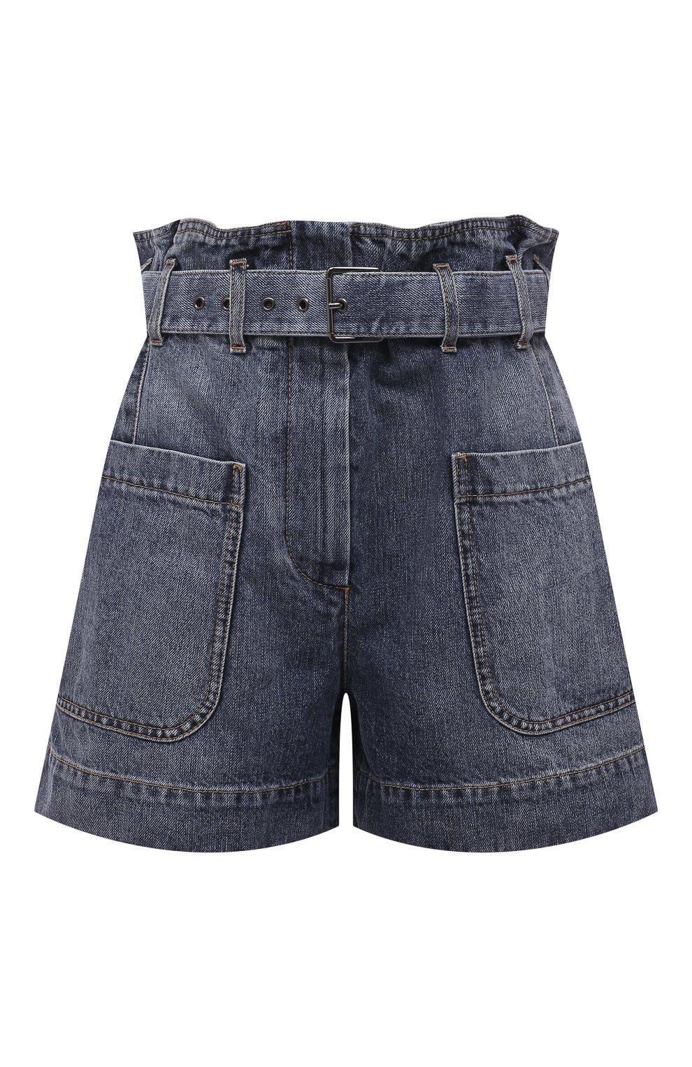 Женские джинсовые шорты BRUNELLO CUCINELLI темно-синего цвета, арт. MA095P5651 | Фото 1 (Женское Кросс-КТ: Шорты-одежда; Кросс-КТ: Деним; Длина Ж (юбки, платья, шорты): Мини; Стили: Гранж; Материал внешний: Хлопок)