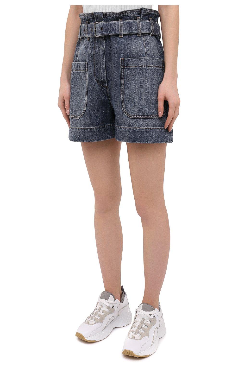 Женские джинсовые шорты BRUNELLO CUCINELLI темно-синего цвета, арт. MA095P5651 | Фото 3 (Женское Кросс-КТ: Шорты-одежда; Кросс-КТ: Деним; Длина Ж (юбки, платья, шорты): Мини; Стили: Гранж; Материал внешний: Хлопок)