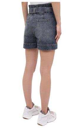 Женские джинсовые шорты BRUNELLO CUCINELLI темно-синего цвета, арт. MA095P5651 | Фото 4 (Женское Кросс-КТ: Шорты-одежда; Кросс-КТ: Деним; Длина Ж (юбки, платья, шорты): Мини; Стили: Гранж; Материал внешний: Хлопок)