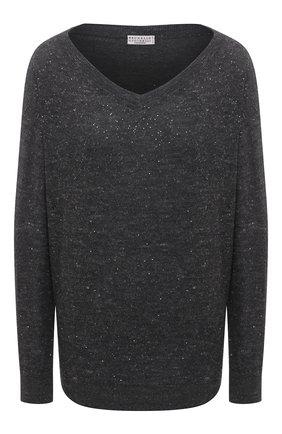 Женский кашемировый пуловер BRUNELLO CUCINELLI темно-серого цвета, арт. MAI198902 | Фото 1