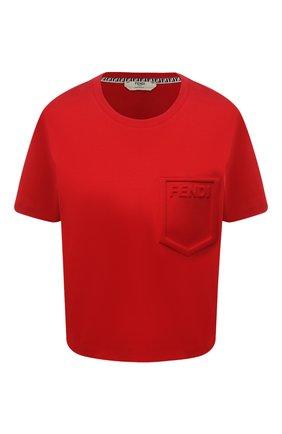 Женская хлопковая футболка FENDI красного цвета, арт. FS7389 AFLD | Фото 1