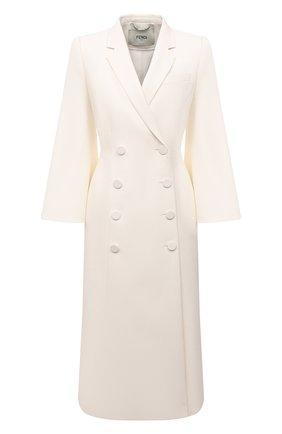 Женское шерстяное пальто FENDI белого цвета, арт. FF8806 AC4G | Фото 1