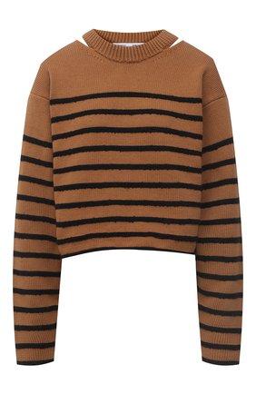 Женский хлопковый свитер PROENZA SCHOULER WHITE LABEL коричневого цвета, арт. WL2127605-KC085 | Фото 1