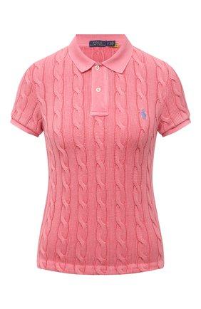 Женское хлопковое поло POLO RALPH LAUREN розового цвета, арт. 211794596   Фото 1 (Длина (для топов): Стандартные; Материал внешний: Хлопок; Рукава: Короткие; Кросс-КТ: Трикотаж; Стили: Кэжуэл)