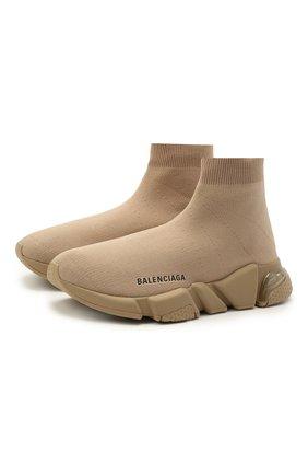Женские текстильные кроссовки speed BALENCIAGA бежевого цвета, арт. 607543/W2DBL | Фото 1