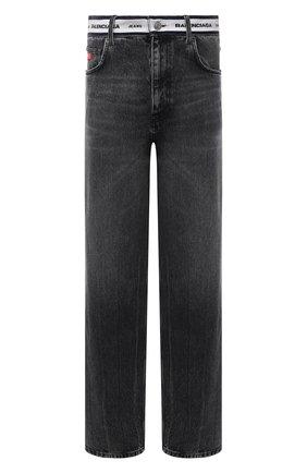Мужские джинсы BALENCIAGA темно-серого цвета, арт. 657615/TBP47   Фото 1 (Длина (брюки, джинсы): Стандартные; Материал внешний: Хлопок, Деним; Силуэт М (брюки): Широкие)