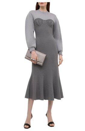 Женское платье из шерсти и хлопка ALEXANDER MCQUEEN серого цвета, арт. 659952/Q1AUN | Фото 2 (Рукава: Длинные; Длина Ж (юбки, платья, шорты): Миди; Кросс-КТ: Трикотаж; Стили: Романтичный; Женское Кросс-КТ: Платье-одежда; Случай: Повседневный; Материал внешний: Шерсть, Хлопок)