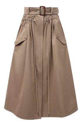 Женская хлопковая юбка ALEXANDER MCQUEEN бежевого цвета, арт. 659916/QFAAA | Фото 1