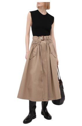 Женская хлопковая юбка ALEXANDER MCQUEEN бежевого цвета, арт. 659916/QFAAA | Фото 2