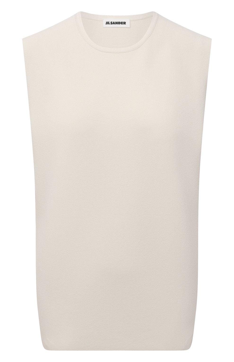 Женский топ из вискозы JIL SANDER светло-бежевого цвета, арт. JSWS754315-WSY39148   Фото 1 (Кросс-КТ: без рукавов; Длина (для топов): Стандартные; Материал внешний: Вискоза; Рукава: Без рукавов; Стили: Кэжуэл)