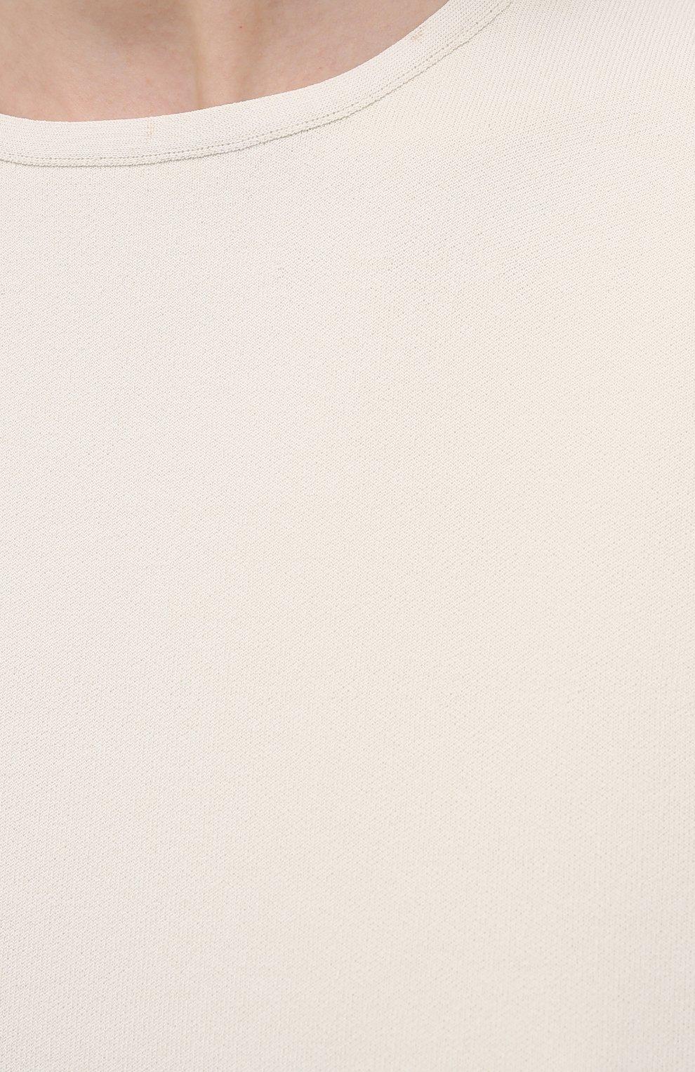 Женский топ из вискозы JIL SANDER светло-бежевого цвета, арт. JSWS754315-WSY39148   Фото 5 (Кросс-КТ: без рукавов; Длина (для топов): Стандартные; Материал внешний: Вискоза; Рукава: Без рукавов; Стили: Кэжуэл)