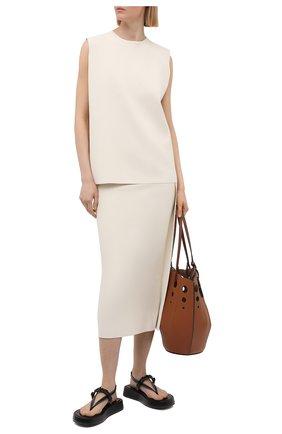 Женская юбка из вискозы JIL SANDER светло-бежевого цвета, арт. JSWS754316-WSY39148 | Фото 2