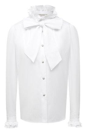Женская хлопковая блузка ALESSANDRA RICH белого цвета, арт. FAB2525-F3198 | Фото 1 (Рукава: Длинные; Длина (для топов): Стандартные; Материал внешний: Хлопок; Принт: Без принта; Стили: Романтичный; Женское Кросс-КТ: Блуза-одежда)