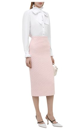Женская хлопковая блузка ALESSANDRA RICH белого цвета, арт. FAB2525-F3198 | Фото 2