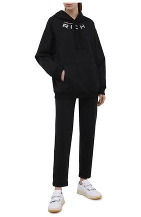 Женский хлопковое худи ALESSANDRA RICH черного цвета, арт. FAB2072-F2874 | Фото 2