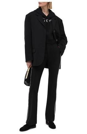Женский хлопковое худи ALESSANDRA RICH черного цвета, арт. FAB2068-F2874 | Фото 2