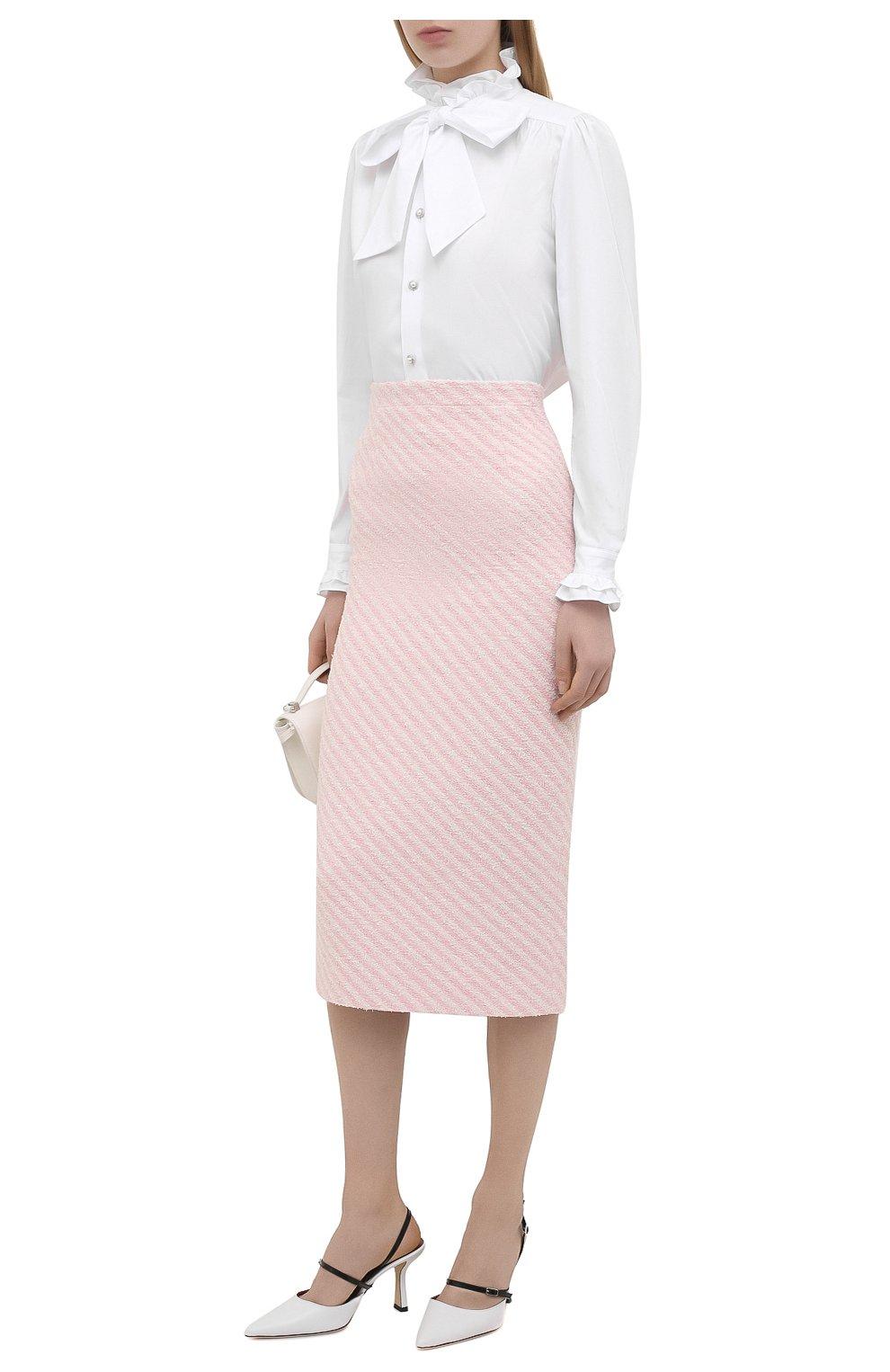 Женская хлопковая юбка ALESSANDRA RICH светло-розового цвета, арт. FAB1817-F3172 | Фото 2