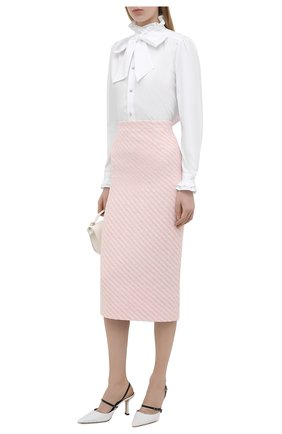 Женская хлопковая юбка ALESSANDRA RICH светло-розового цвета, арт. FAB1817-F3172   Фото 2
