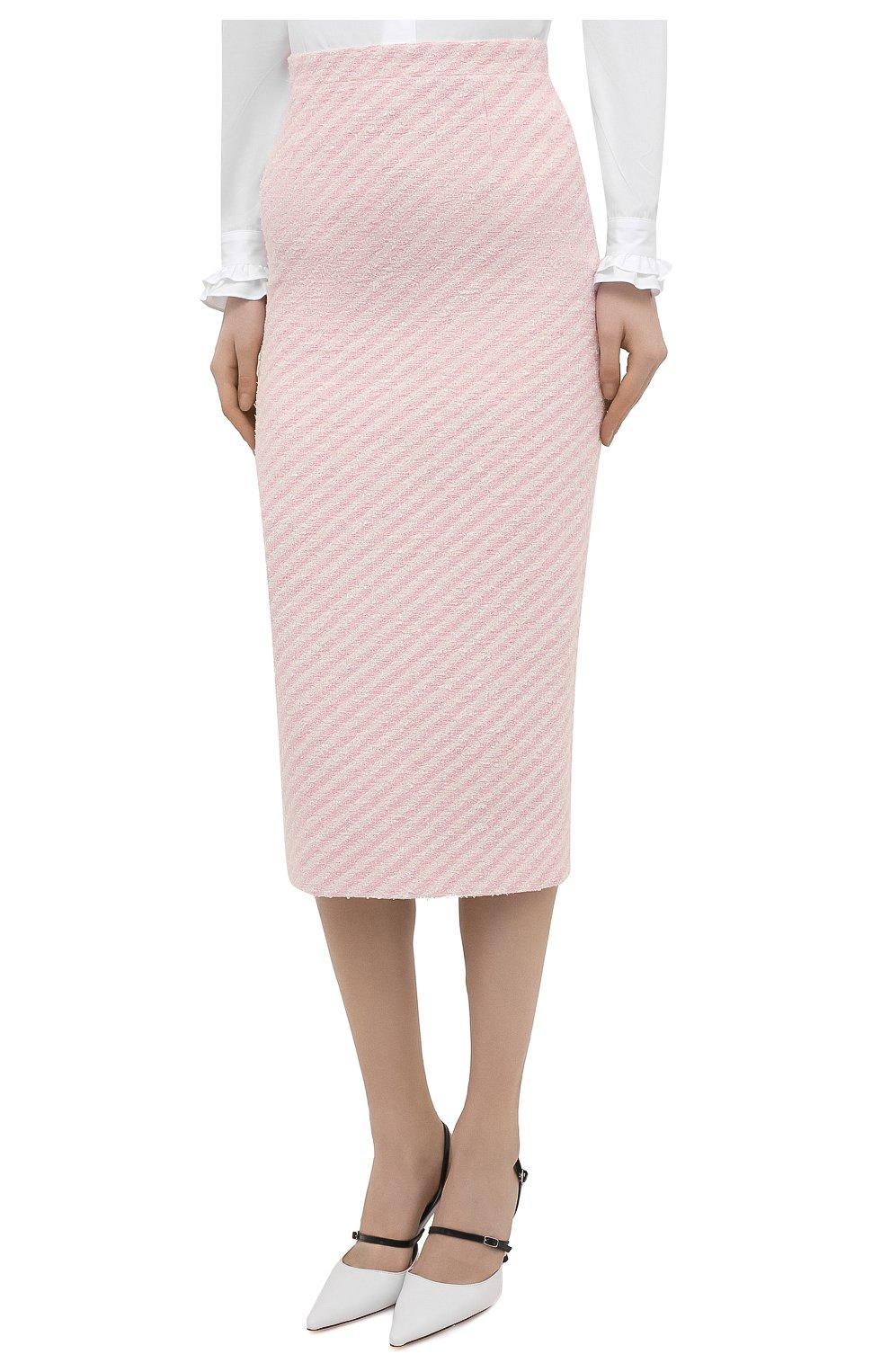 Женская хлопковая юбка ALESSANDRA RICH светло-розового цвета, арт. FAB1817-F3172   Фото 3