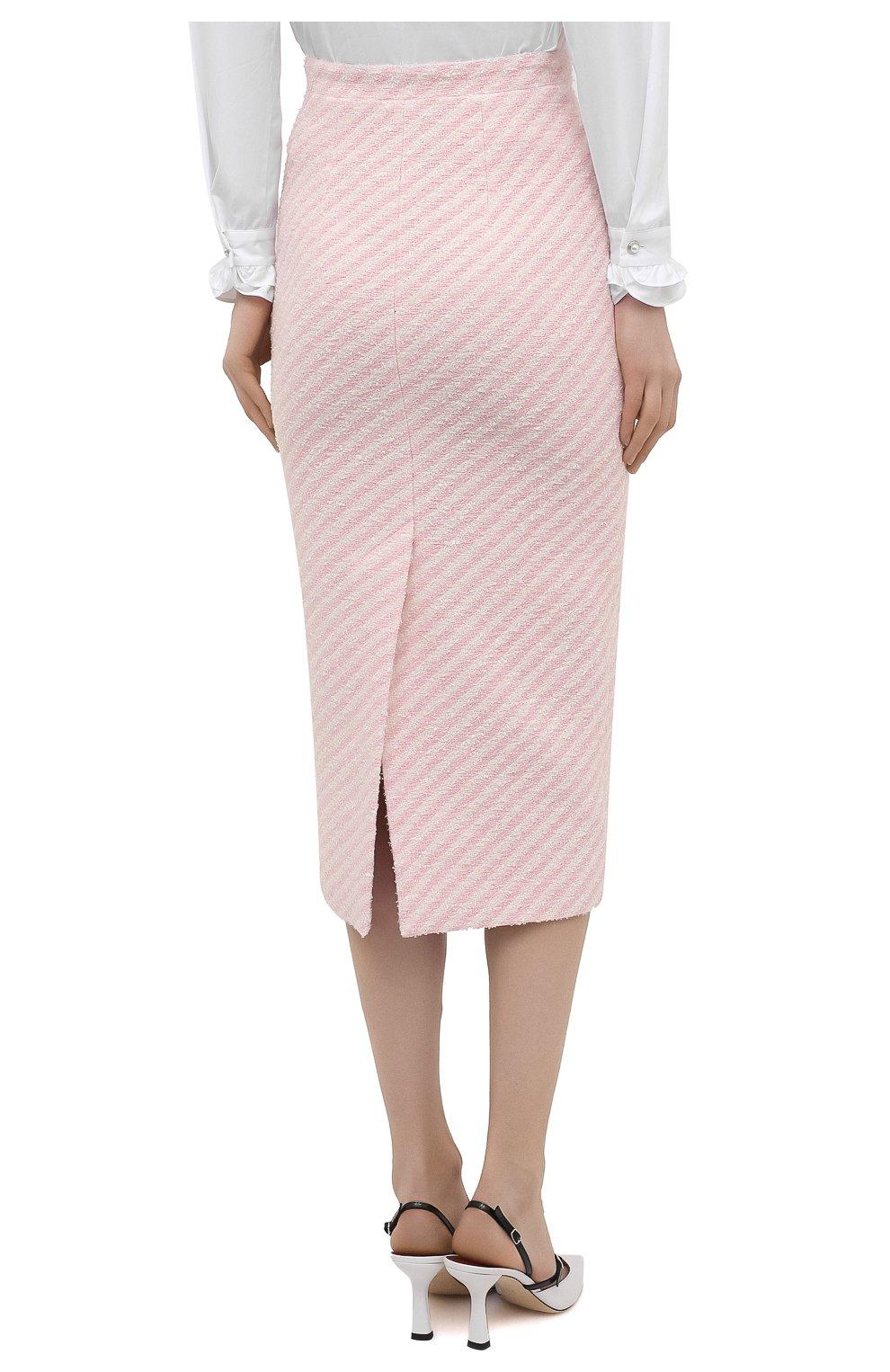 Женская хлопковая юбка ALESSANDRA RICH светло-розового цвета, арт. FAB1817-F3172 | Фото 4