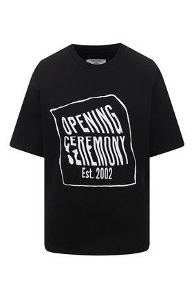 Женская хлопковая футболка OPENING CEREMONY черного цвета, арт. YWAA010S21JER001   Фото 1