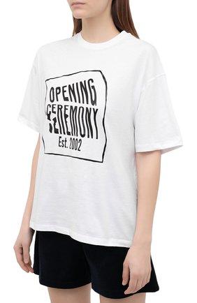 Женская хлопковая футболка OPENING CEREMONY белого цвета, арт. YWAA010S21JER001   Фото 3 (Рукава: Короткие; Длина (для топов): Стандартные; Принт: С принтом; Материал внешний: Хлопок; Стили: Спорт-шик; Женское Кросс-КТ: Футболка-одежда)