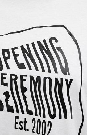 Женская хлопковая футболка OPENING CEREMONY белого цвета, арт. YWAA010S21JER001   Фото 5 (Рукава: Короткие; Длина (для топов): Стандартные; Принт: С принтом; Материал внешний: Хлопок; Стили: Спорт-шик; Женское Кросс-КТ: Футболка-одежда)