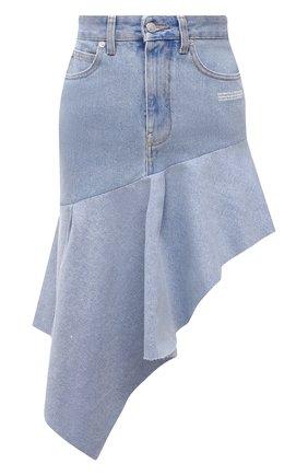 Женская джинсовая юбка OFF-WHITE голубого цвета, арт. 0WYF010S21DEN002   Фото 1 (Материал внешний: Хлопок; Длина Ж (юбки, платья, шорты): До колена; Стили: Гранж; Женское Кросс-КТ: Юбка-одежда; Кросс-КТ: Деним)