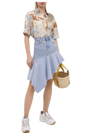 Женская джинсовая юбка OFF-WHITE голубого цвета, арт. 0WYF010S21DEN002 | Фото 2
