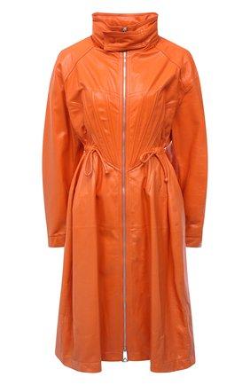 Женский кожаный плащ BOTTEGA VENETA оранжевого цвета, арт. 659578/VKLC0   Фото 1