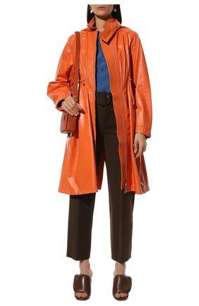 Женский кожаный плащ BOTTEGA VENETA оранжевого цвета, арт. 659578/VKLC0   Фото 2