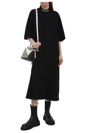 Женское хлопковое платье PALM ANGELS черного цвета, арт. PWDB105S21JER0011001   Фото 2
