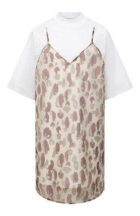 Женское хлопковое платье PALM ANGELS бежевого цвета, арт. PWDB099S21FAB0016101   Фото 1